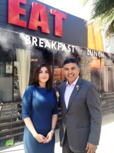 ANCA-WR Executive Director Elen Asatryan (left) with Congressman Tony Cardenas (right) after introductory meeting at EAT Restaurant in North Hollywood, CA.