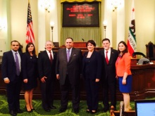 ANCA WR Leadership with Speaker Perez From Left ANCA WR Board Member Raffi Kassabian, ANCA WR Executive Director Elen Asatryan, ANCA WR Advisory Board Member Berdj Karapetian, CA Assembly Speaker John Perez, ANCA WR Chair Nora Hovsepian, ANCA WR Advisory Board Member Michael Mahdessian, ANCA WR Government Affairs Director Tereza Yerimyan